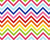 Chevron Fabric, Remix Fabric, Cotton Fabric, Spring fabric, Party fabric, Small Chevron in Bright- Choose your cut, Free Shipping Available