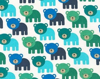 Bear Fabric, Fabric by the Yard, Boy fabric, Woodland Pals fabric  by Ann Kelle for Robert Kaufman, Bears in Adventure Blue