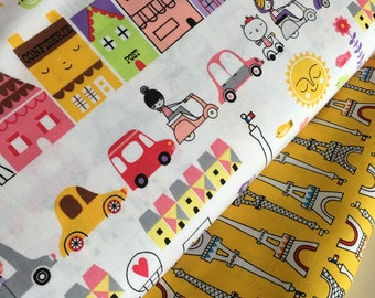 French fabric, Cute fabric, French Neighborhood fabric bundle, Eiffel Tower fabric, Fabric by the Yard- Fabric Bundle of 2, Choose The Cuts
