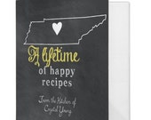 Recipe Binder - State - Chalkboard Inspired - Personalize Recipe Book - Bridal Shower Gift - Wedding Recipe Book