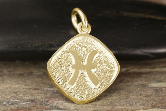 Pisces zodiac pendant ingold - Double sided, yellow gold, white gold, rose gold, 10kt, 14kt, 18kt