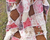 Floral Rag Quilt, Pink and Brown, Cottage Chic, Handmade