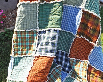 Rag Quilt - Twin Size - PICK YOUR FABRICS - Handmade - Made To Order - Custom Order