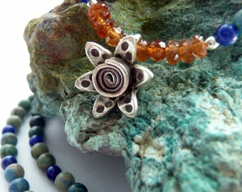 Handcrafted  Chrysocolla Lapis Andalusite Sterling Silver KHT Fine Silver Artisan Flower Charm OOAK Boho Hippie Gift for Her Necklace