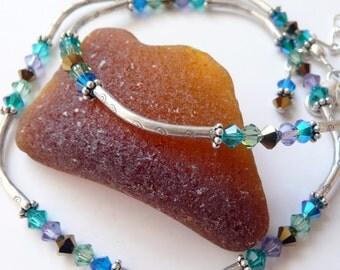 Multi Colored Swarovski Crystal Karen Hill Tribe Fine Silver Sterling Silver OOAK Artisan Boho Hippie Festival Gift for Her Necklace