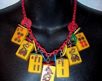 signed jan carlin designer bakelite dragon antique mah jong game tiles bracelet Art Deco