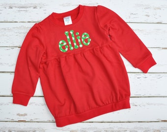 Christmas Red Tunic Sweatshirt - Girls Christmas Outfit - Christmas Shirt - - Julianne Originals