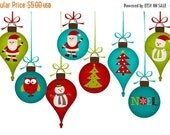 Christmas Decorations Clip Art PNG for commercial and personal use. Invites, cards, scrapbooking