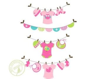 Jellybean Baby Laundry Line Clip Art, Baby Clothes line Clip Art
