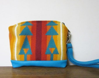 Wristlet Small Wrist Bag Clutch Bag Purse Cosmetic Bag Make Up Pouch Removable Turquoise Leather Strap Tribal Inspired
