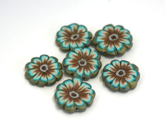 Polymer Clay Flower Beads, Brown and Teal Disc Beads, Millefiori Slices 6 Pieces
