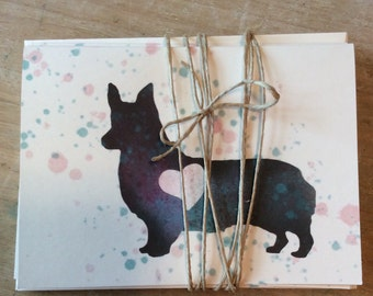 5 Corgi cards, thank you, greeting, hello
