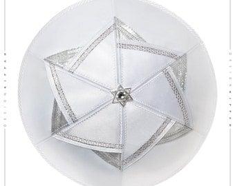 Kippah - yarmulke. Jewish wedding - Bar Mitzvah - Shabbat. White silver David Star.