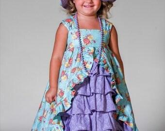 Girls Floral Tea Party Dress-Girls Ruffle Front Dress-Girls Maxi Dress-Girls Toddler Easter Dress-Girls Pageant Dress-Girls Boutique Dress