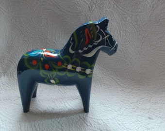 Vintage Swedish Blue Hand Carved and Hand Painted DALA Horse With Original Label