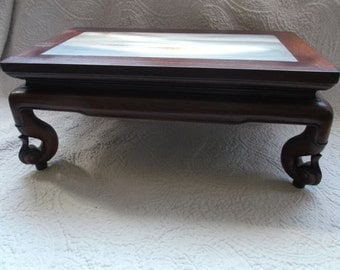 Stunning Antique 19th C Rosewood and Inlayed Marble Stand