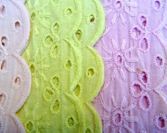 Vintage lace, 4 yards, 4 colors, hand painted, 2 inch wide cotton eyelet lace