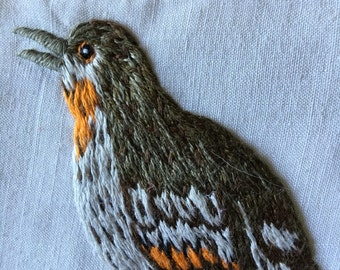 Vintage bird crewel orange and brown  CHOICE OF: sachet, napkin, or picture for framing   piece embroidered cottage home decor