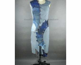 Deco Dress, Denim Dress, Cocktail Dress, Recycled Denim, Showstopper, Art Deco, OOAK Dress, Rosalba Valentino Couture, Blue, Couture Denim