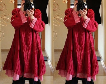 Red Floaty Fairy LONG TUNIC DRESS Plus Size 18 20 22  Gothic Lagenlook Baggy 2X 3X Rose