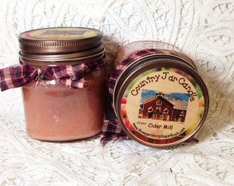 Jar Candle, Cider, Mason Jar, Cider Mill,  spiced apples, apple cider, housewarming gift, half pint, Moeggenborg Sugar Bush