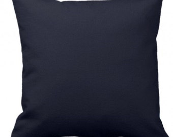 "SOLID NAVY - Throw Pillow, Decorative Pillow, Pillow Cover, Pillow Insert, Pillow Case - SQUARE- 17"" x 17"" - Zipper Closure"