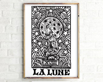 Art, La Lune Moon Tarot Digital Black and White Poster Print Download, La Lune Moon Tarot Large 24x36 Poster Print Art, Printable File