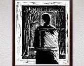 Ghost, Linocut Print, Block Print, Linoleum Print, Lino Cut Print, Relief Art Print, Birthday, Gift, For Him, For Her, Gift Idea, Boyfriend
