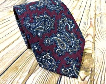 Vintage Necktie - Mens Gift Ideas - Robert Talbott - Paisley - Husband Gift - Fathers Day Gift - Groomsmen Gift - Designer Necktie
