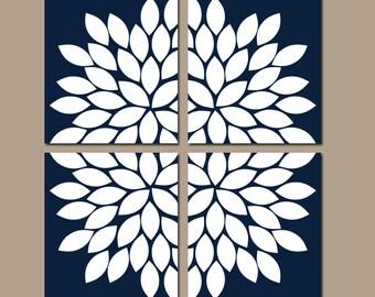 NAVY Wall Art, CANVAS or Prints, Navy Bathroom Artwork, Navy Bedroom Pictures, Flower Burst Petals, Set of 4 Home Decor, Living Room
