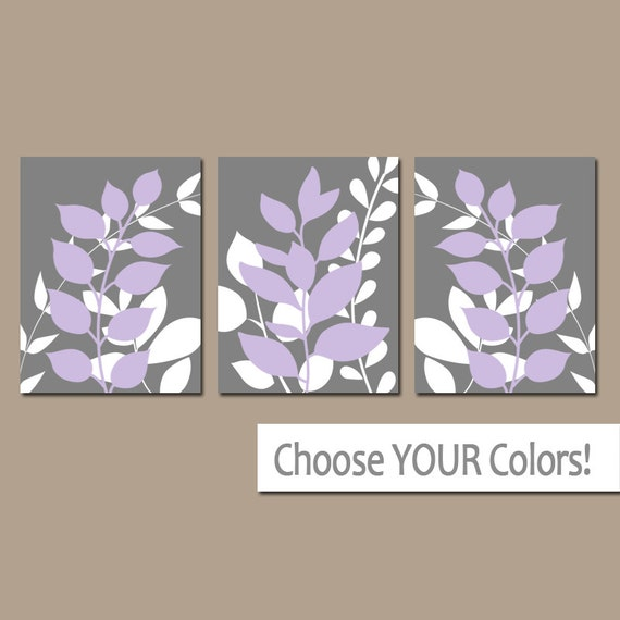 Gray Lavender Wall Art Bedroom Pictures Leaves Canvas Or