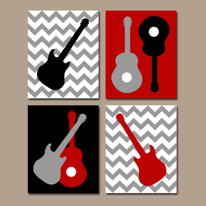 Guitar Wall Art Music Theme Nursery Big Boy Bedroom