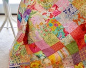 Traditional Modern Patchwork Quilt, Quilted Blanket, Large Lap - Throw - Cottage Garden Charm - Kaffe Fasett, Moda, Others! Ready To Ship!
