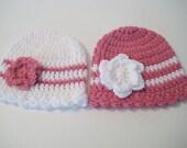 Baby Girl Hat, Crohet Beanie, Newborn Hat, Baby Girl Gift, Baby Shower, Baby Girl Head Warmer, Newborn - Toddler, Pick Color - Pick Size