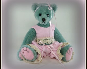 Riley - Teddy Bear, Handmade, Stuffed Animal, Dressed Bear, Pink, OOAK, 7.5 Inches