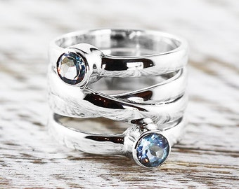 Blue Topaz Ring 14k White Gold Wedding Rings Womens Jewelry