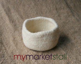 Natural White Felted Art Bowl - Ready to Ship