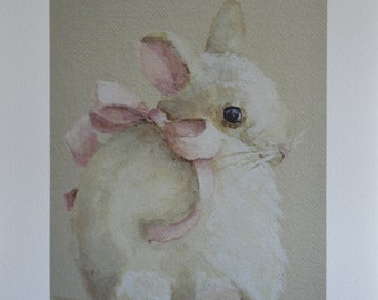 Bunny Rabbit PRINT from original painting Shy Saffron 5x7