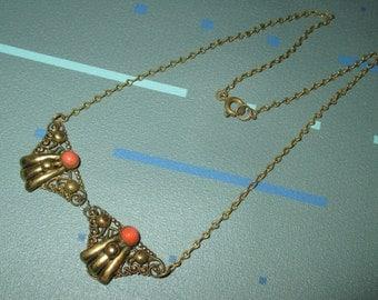 Vintage 30s Art Deco Filigree Necklace