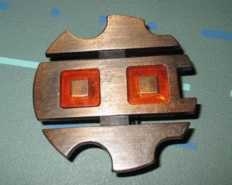 Vintage Mid Century MOD Bronze and Orange Resin Belt Buckle Signed Canada