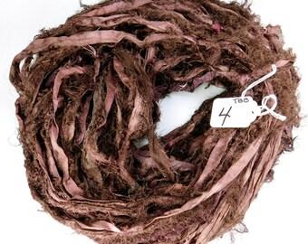 Recycled Silk Sari Ribbon, brown sari ribbon, Sari silk ribbon, fuzzy sari ribbon, brown ribbon, weaving supply, knitting supply