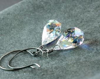 Clear Swarovski Earrings Oxidized Silver Sparkle Crystal Jewelry AB Crystal Jewellery Womens Jewelry Glam Jewelry Elegant Statement Earrings