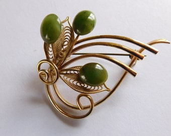 Jade Brooch Vintage Jewelry Filligree Leaves Natural Stone Blossoms