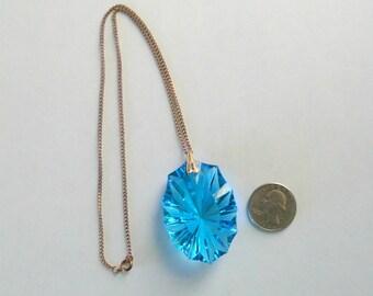 Stunning Sapphire Blue Glass Pendant Necklace HUGE!