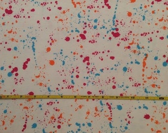 "NEW Rainbow Group Bright Splatter on cotton lycra 95/5 58"" wide sold per yard"