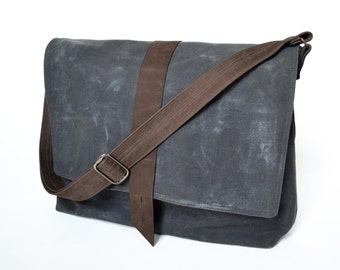 Waxed Canvas Bag, Waxed Canvas Messenger Bag, Crossbody Bag, Waxed Canvas Mens Bag, Shoulder Bag, Work Bag, The Sloane Bag in Charcoal Grey