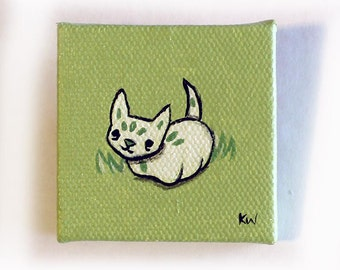 Leaf Cat Creature Painting Miniature - Cat Tiny Art - Original Woodland Kitty Wall Art Acrylic on Canvas 2 x 2 Inches Miniature Painting