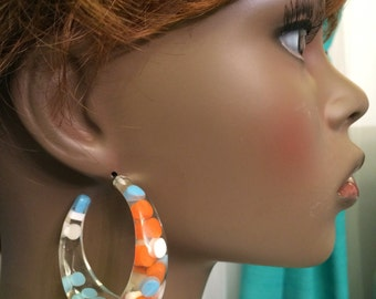 Vintage Plastic Aspirin Pill Polka Dot clear Lucite earrings Confetti Candy Deadstock Turquoise White and Orange