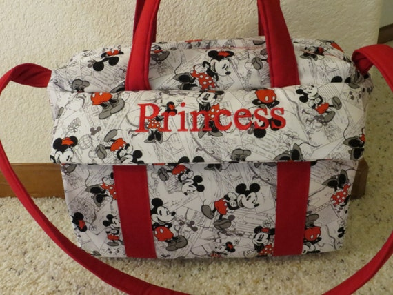 Mickey And Minnie Mouse Diaper Bag W Change Pad By Emijane