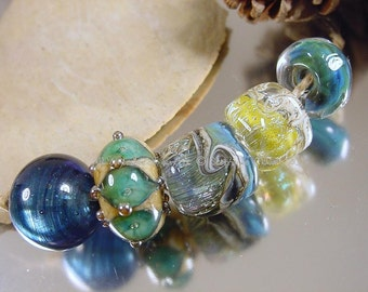 Handmade lampwork glass beads, Artisan glass beads, blue beads, green beads, ivory beads, green beads, dichroic glass beads, SRA lampwork